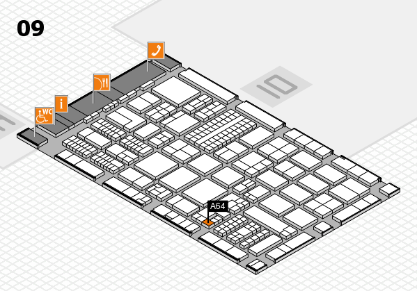ProWein 2017 hall map (Hall 9): stand A64