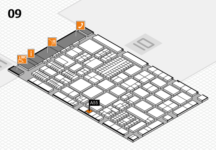 ProWein 2017 hall map (Hall 9): stand A55