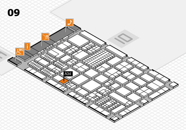 ProWein 2017 hall map (Hall 9): stand A34