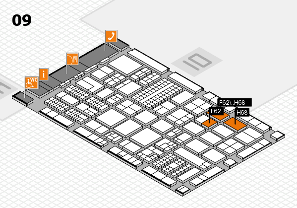 ProWein 2017 hall map (Hall 9): stand F62, stand H68