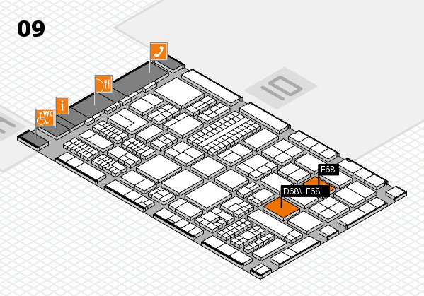 ProWein 2017 hall map (Hall 9): stand D68, stand F68