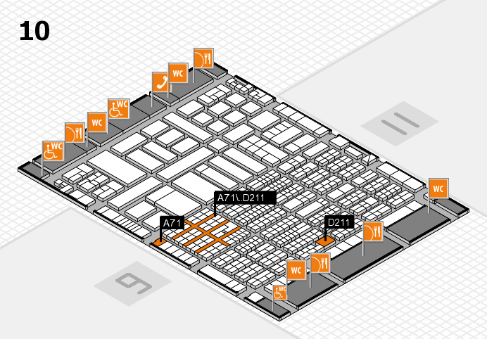 ProWein 2017 hall map (Hall 10): stand A71, stand D211