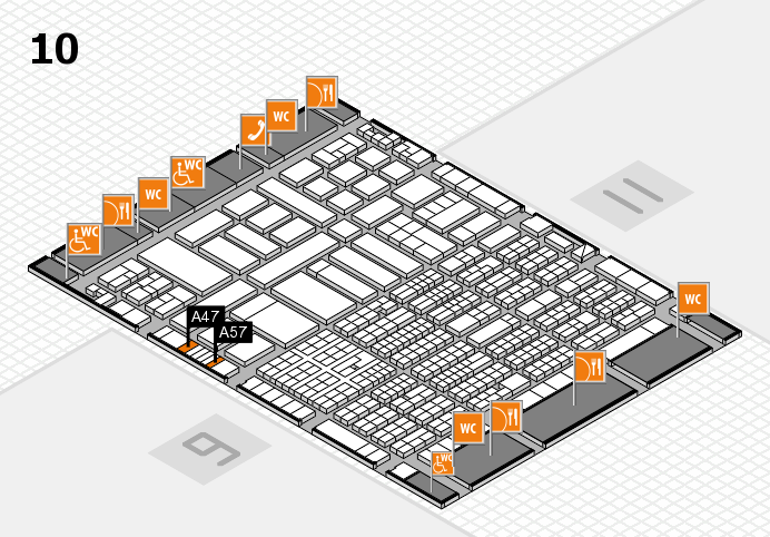 ProWein 2017 hall map (Hall 10): stand A47, stand A57