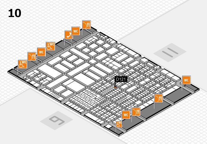 ProWein 2017 hall map (Hall 10): stand D121