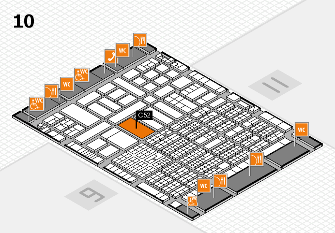 ProWein 2017 hall map (Hall 10): stand B52, stand D52