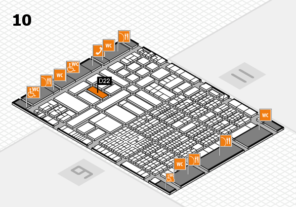 ProWein 2017 hall map (Hall 10): stand D22
