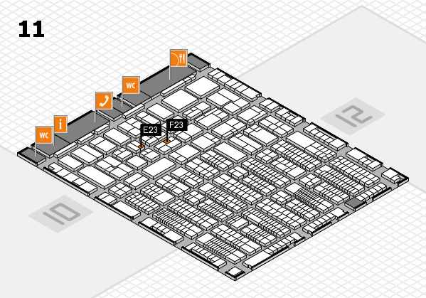 ProWein 2017 hall map (Hall 11): stand E23, stand F23