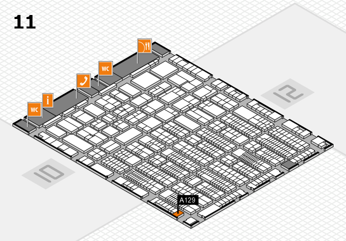 ProWein 2017 hall map (Hall 11): stand A129