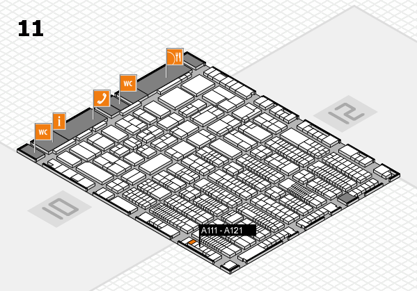 ProWein 2017 hall map (Hall 11): stand A111 - A121