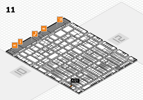 ProWein 2017 hall map (Hall 11): stand A121