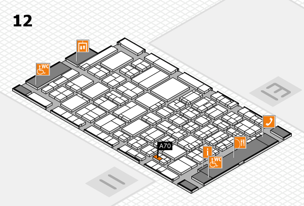 ProWein 2017 hall map (Hall 12): stand A70