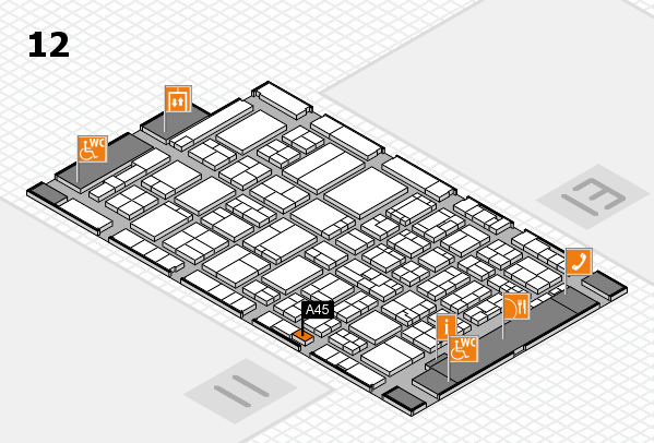 ProWein 2017 hall map (Hall 12): stand A45