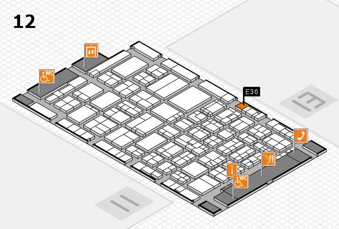 ProWein 2017 hall map (Hall 12): stand E36