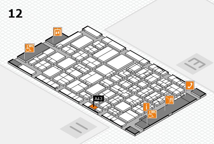ProWein 2017 hall map (Hall 12): stand A43