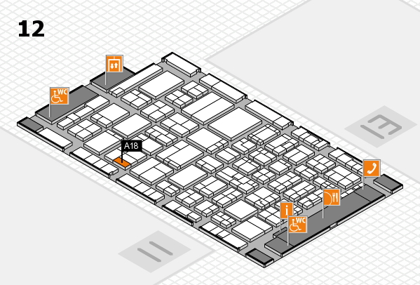ProWein 2017 hall map (Hall 12): stand A18