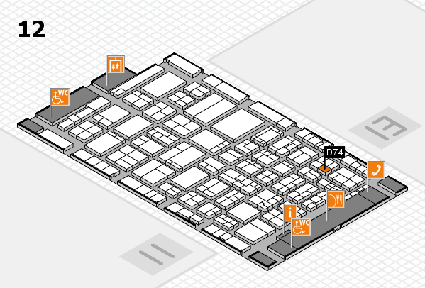 ProWein 2017 hall map (Hall 12): stand D74