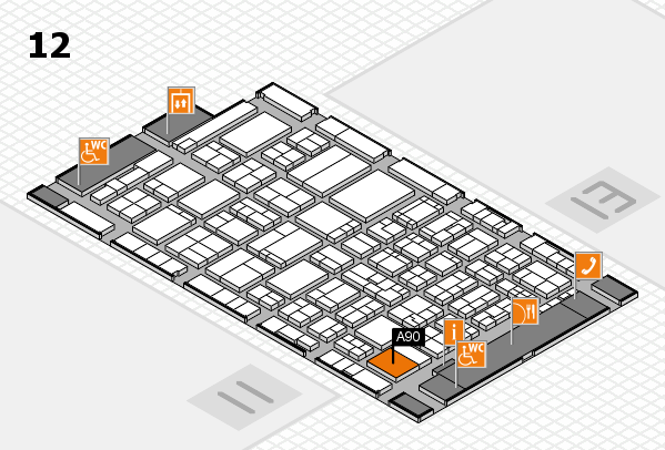 ProWein 2017 hall map (Hall 12): stand A90