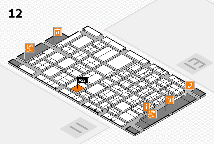 ProWein 2017 hall map (Hall 12): stand A22