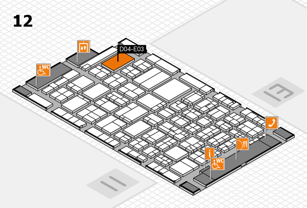 ProWein 2017 hall map (Hall 12): stand D04-E03