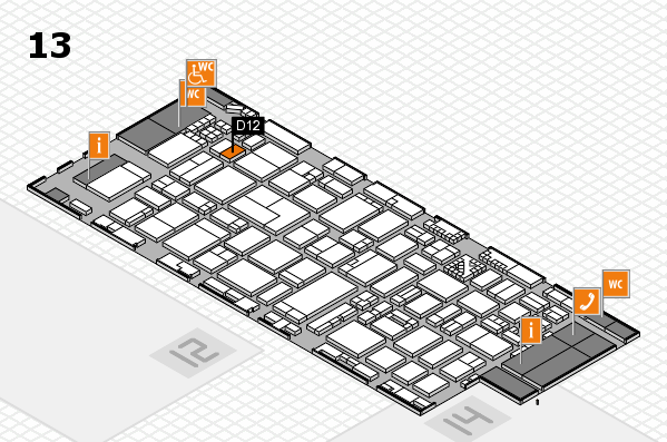 ProWein 2017 hall map (Hall 13): stand D12