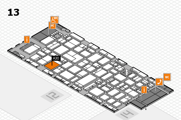 ProWein 2017 hall map (Hall 13): stand A30