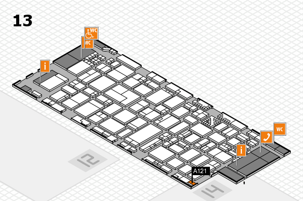 ProWein 2017 hall map (Hall 13): stand A121
