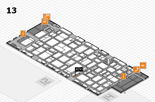 ProWein 2017 hall map (Hall 13): stand A74