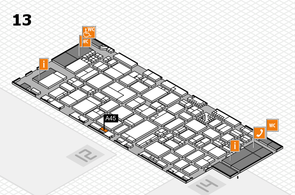 ProWein 2017 hall map (Hall 13): stand A45