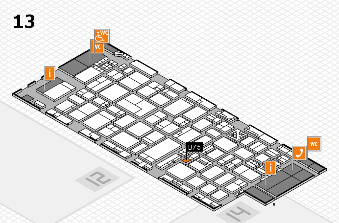 ProWein 2017 hall map (Hall 13): stand B75
