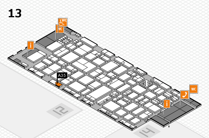 ProWein 2017 hall map (Hall 13): stand A35