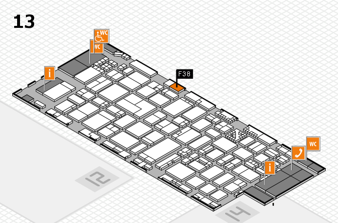 ProWein 2017 hall map (Hall 13): stand F38