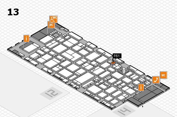 ProWein 2017 hall map (Hall 13): stand F61