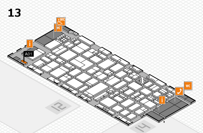 ProWein 2017 hall map (Hall 13): stand A01