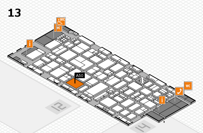 ProWein 2017 hall map (Hall 13): stand A50