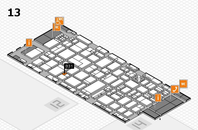 ProWein 2017 hall map (Hall 13): stand B31