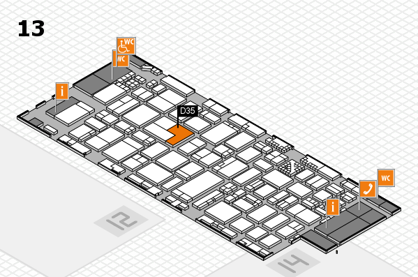ProWein 2017 hall map (Hall 13): stand D35