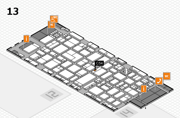 ProWein 2017 hall map (Hall 13): stand C54