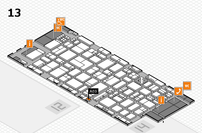 ProWein 2017 hall map (Hall 13): stand A69