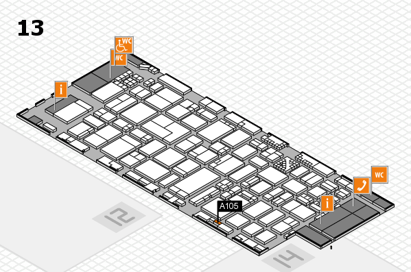 ProWein 2017 hall map (Hall 13): stand A105