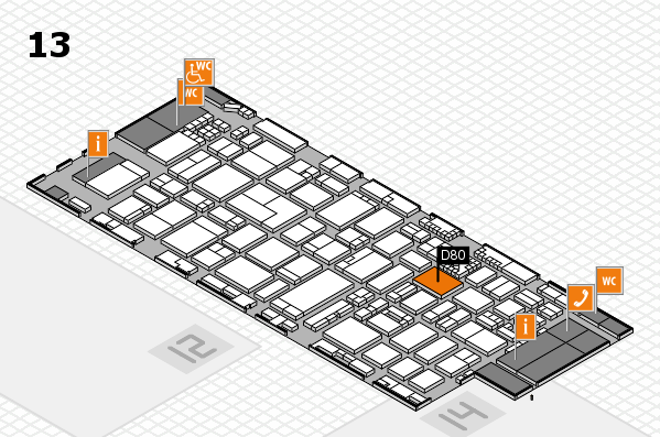 ProWein 2017 hall map (Hall 13): stand D80