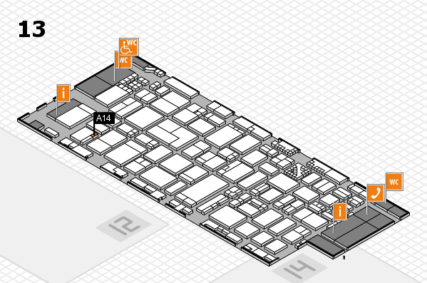 ProWein 2017 hall map (Hall 13): stand A14