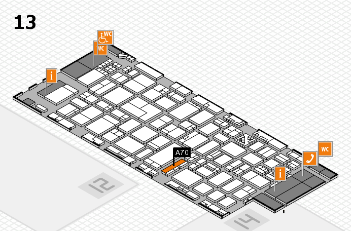 ProWein 2017 hall map (Hall 13): stand A70