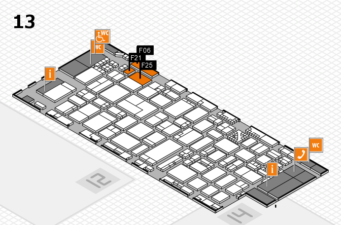 ProWein 2017 hall map (Hall 13): stand F06, stand F25