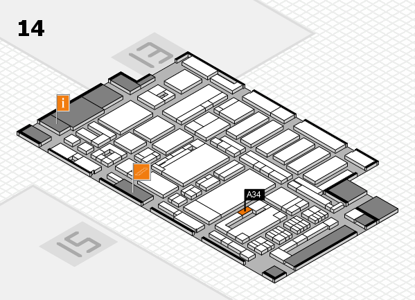 ProWein 2017 hall map (Hall 14): stand A34