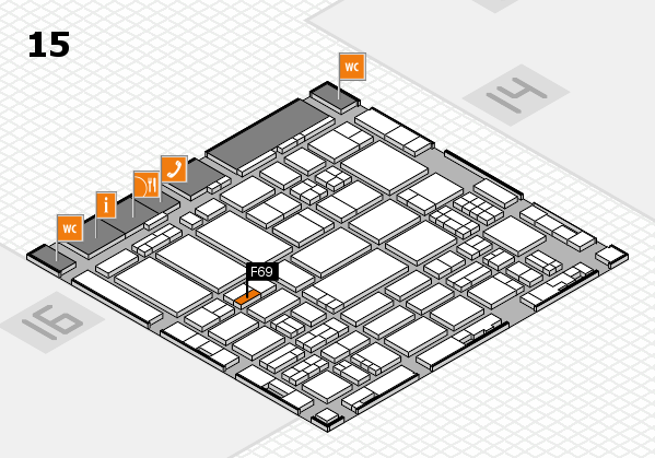 ProWein 2017 hall map (Hall 15): stand F69
