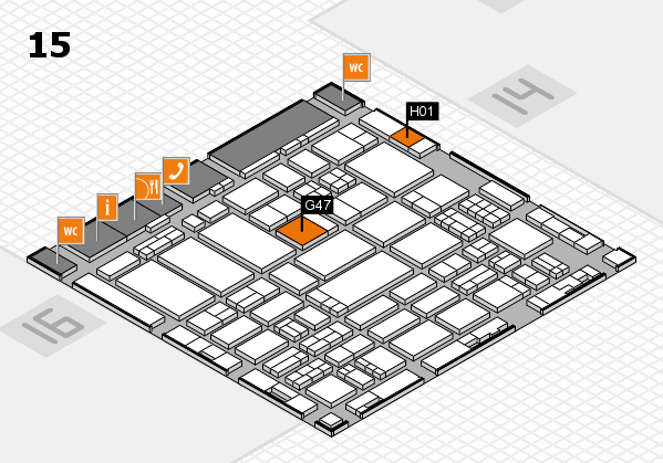 ProWein 2017 hall map (Hall 15): stand G47, stand H01