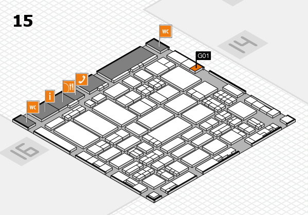 ProWein 2017 hall map (Hall 15): stand G01