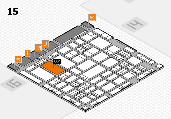 ProWein 2017 hall map (Hall 15): stand G61
