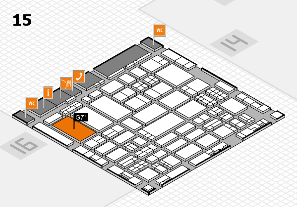 ProWein 2017 hall map (Hall 15): stand G71