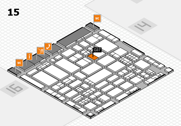 ProWein 2017 hall map (Hall 15): stand G37